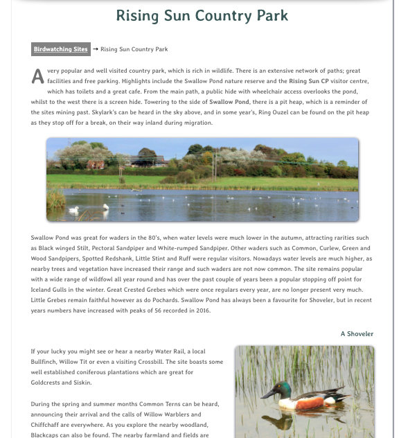 Bird Watching Sites - Rising Sun CP - web page image