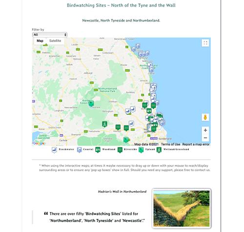 Birdwatching sites- - Interactive map image